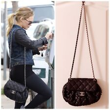 CHANEL Authentic Chain Around Messenger Cross Body Bag in Black with Silver HW