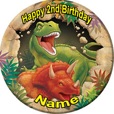 DINO BLAST EDIBLE ICING  CAKE TOPPER PARTY IMAGE FROSTING SHEET