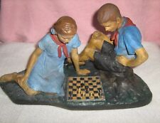 """SOVIET CHESS SCULPTURE """"THE PIONEERS PLAYS CHESS"""". Middle of the 20th Century"""