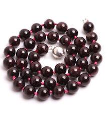 "Handmade 10mm Natural Wine Red Garnet Round Gemstone Beads Necklace 18"" AAA"