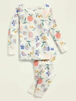NWT GIRLS OLD NAVY PAJAMAS PJS SIZE 3T SIZE 5T - 2 PIECE SET FLORAL FRUIT
