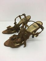 WOMENS FAITH BROWN SUEDE FRINGE ANKLE STRAP HIGH HEELS SANDALS SHOES UK 5 EU 38