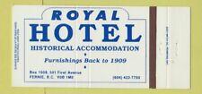 Matchbook Cover - Royal Hotel Fernie BC 30 Strike