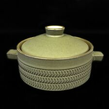 DENBY CHEVRON OLIVE GREEN LIDDED / COVERED HANDLED SOUP BOWL