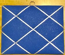French Bulletin Board Photo Memo Board Blue Silver Sparkle Print 11 x 14 inches