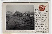 RUINS OF I.C.R. FIRE, 1906, MONCTON: New Brunswick Canada postcard (C28829)