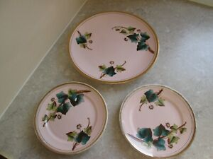 ANTIQUE SET OF FOLEY WILEMAN - THREE PLATES - IVY LEAVES  1884