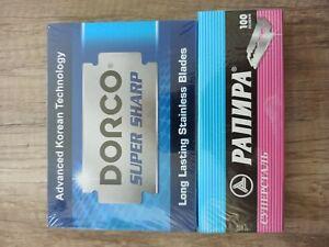 100 RAPIRA + 100 DORCO SUPER STAINLESS DOUBLE EDGE CLASSIC SAFETY RAZOR BLADES