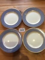 Set Of Four Side Plates  Block Spal Portugal Blue Skies ~ Blue with Gold Trim
