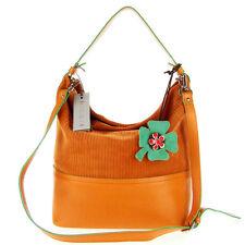 NICOLI Italian Made Orange Suede Designer Bucket Hobo Shoulder Bag with Flower