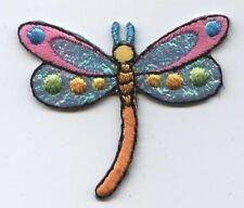 Iron On Embroidered Applique Patch Childrens Shimmery Colorful Dragonfly SMALL