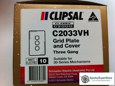 Clipsal Classic C2033 Triple / 3 Gang Plate - 10 Bulk Pack GENUINE NEW CLIPSAL