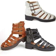 LADIES WOMENS GLADIATOR SANDALS STRAPPY BLOCK HEELS SUMMER BEACH SHOES SIZE