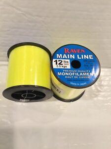 Raven Premium Monofilament fishing Line, 12 Lb Test Fluorescent Yellow, 690 Yds
