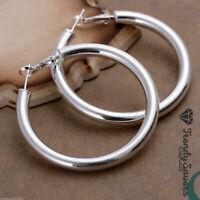 Women's 925 Sterling Silver Filled Big Round Large Hoop Sleeper Earrings #5
