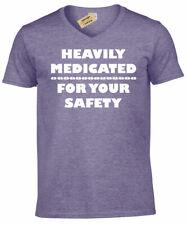 Muy Medicinal para Su Seguridad Divertido Hombre Cuello en V Camiseta