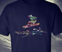 Snowboarding street grafitti t-shirt original, snow board top/tee black