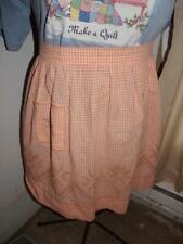 New listing Vintage Handmade Cotton Half Apron- Peach/ Orange Gingham -chicken scratch