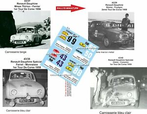 DECALS 1/43 REF 2280 Lot 4 Renault Dauphine Rallye Tour de Corse 1956 1958 1959