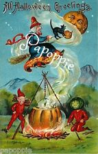 Fabric Block Vintage Halloween Greetings Postcard Image Witch Pumpkin Black Cat