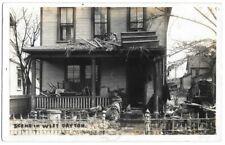RPPC Scene in West Dayton 1913 flood OH vintage postcard stairs on roof
