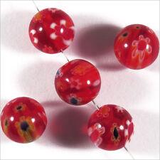 Lot de 10 Perles en Verre Millefiori 10mm Rouge