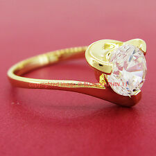 100% Genuine Real Solid 9K Yellow Gold Engagement Wedding Ring Simulated Diamond