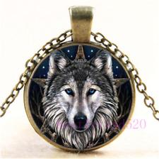 Celtic Wolf Cabochon Glass Silver/Black/Bronze Chain Pendant Necklace#DK2