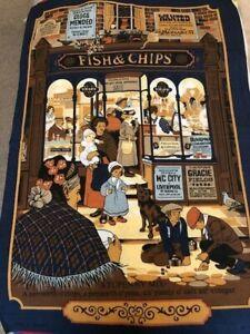 Vintage Vista Cotton Tea Towel - Fish & Chips - Great Graphics!