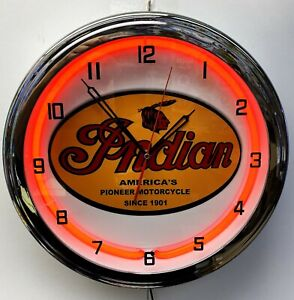 "16"" INDIAN Motorcycle Since 1901 Old Sign Red Neon Clock"