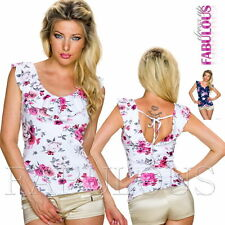Sexy Women's Ladies Floral Print Summer Top Party Shirt Clothing Size 8 10 S M