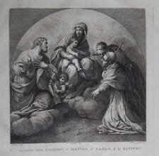 1830 Grabado Beata Virgen con el Niño San Mateo S Carlo y Raniero Angel cm 47x30