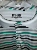 Ping Shirt Polo Size Large Striped White, Green & Gray Great Cond Men's Golf