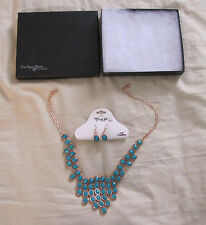 NIB Turquoise Blue Beaded Bib Necklace and Earrings Set The Paper Store