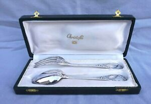 CHRISTOFLE MARLY Pattern Dinner Fork and Spoon Set Boxed Silver Plate