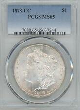 1878-CC MORGAN SILVER DOLLAR , graded by  PCGS as MS65, TONING ON REV