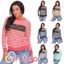 Cotton Blend Crew Neck Striped Jumpers & Cardigans for Women