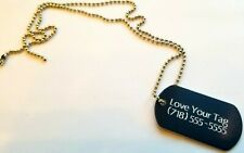 MILITARY STYLE DOG TAGS ID PET TAGS DOUBLE SIDED DIAMOND ENGRAVED w/ CHAIN COMBO