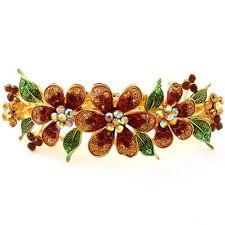 Gold tone rhinestone crystal brown color  flower hair barrette clip 1417
