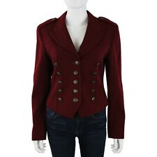 DKNY Womens Red Burgundy Wool Military Blazer Button Front Jacket sz 8