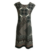 WALLIS Women's S UK 10 Stretch Jersey Shift Casual Day Dress Persian Tile Print