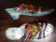 "Elite by Corky's Womens ""Bobsai"" Wedge Heel Slides Sandals Size 9 Blue Floral"