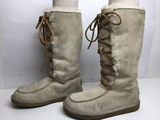 *5 WOMENS UGG AUSTRALIA WINTER SUEDE WHITE OFF BOOTS SIZE 6