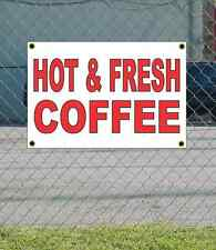 2x3 Hot & Fresh Coffee Red & White Banner Sign New Discount Size Free Ship