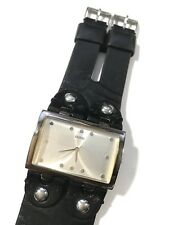 GUESS Womens Wrist Watch Double Strap Black Leather Silver NON WORKING 44.4MM