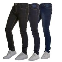 Mens Causal Quality Designer Denim Trousers - Skinny Stretchy Stretch Fit
