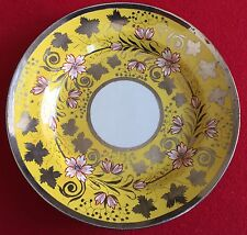 Antique 19th c English Staffordshire Pearlware Silver Luster Canary Yellow Plate