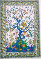 "Yoga Mat Indian Small Roundie Animal Print Mandala Blue 49/"" Inches Fabric Cotton"