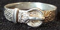 Sterling silver vintage Art Deco antique belt buckle ring - size O