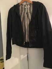 MIKE & CHRIS Hooded Soft Black Leather Jacket US XS-S - Super Cool Hoodie